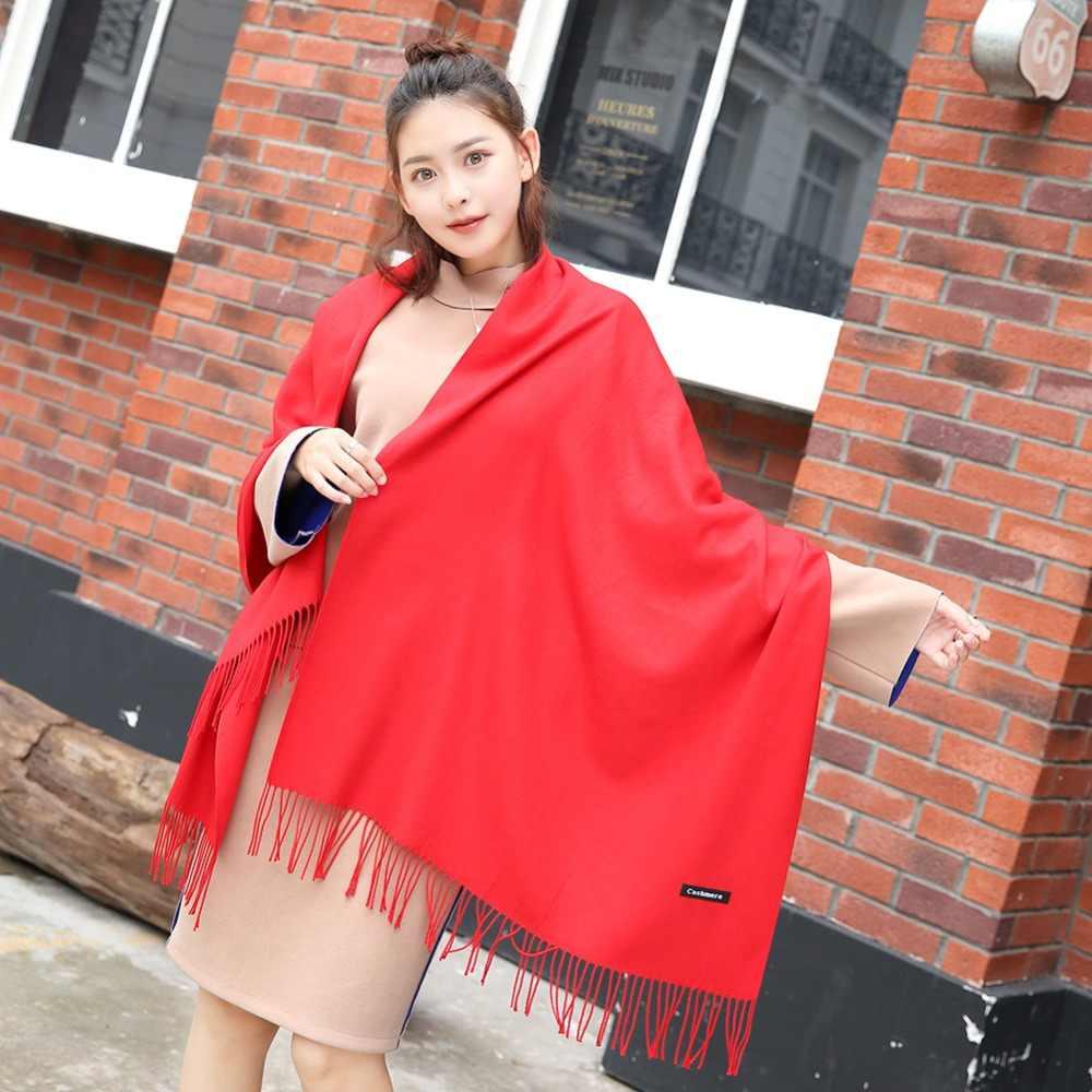 Beibaobao бренд шарф для женщин зима 30 шарфы разных цветов для женское пончо хиджаб шарф плед кашемир мягкие теплые женские шали