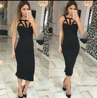 Women Fashion Summer Casual Sleeveless Backless Hollow Out Solid Square Neck Bodycon Skinny Long Dress