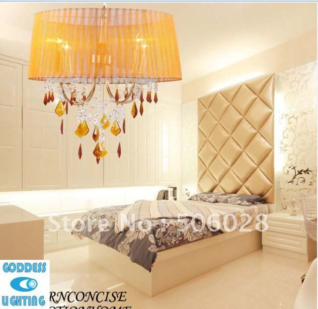 Free Shipping yellow crystal lampshades modern pendant lamp suspend ...