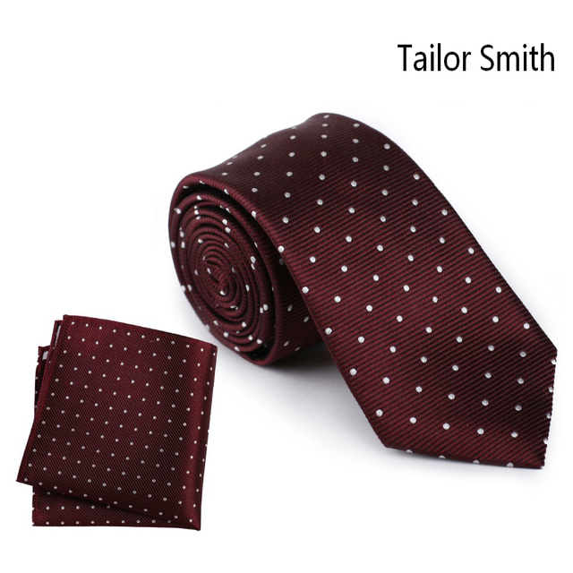 Tailor Smith Polka Dot Necktie Hanky Set Hand Made Pure Silk Woven Jacquard Burgundy Tie Hankerchief Business Office Neckwear