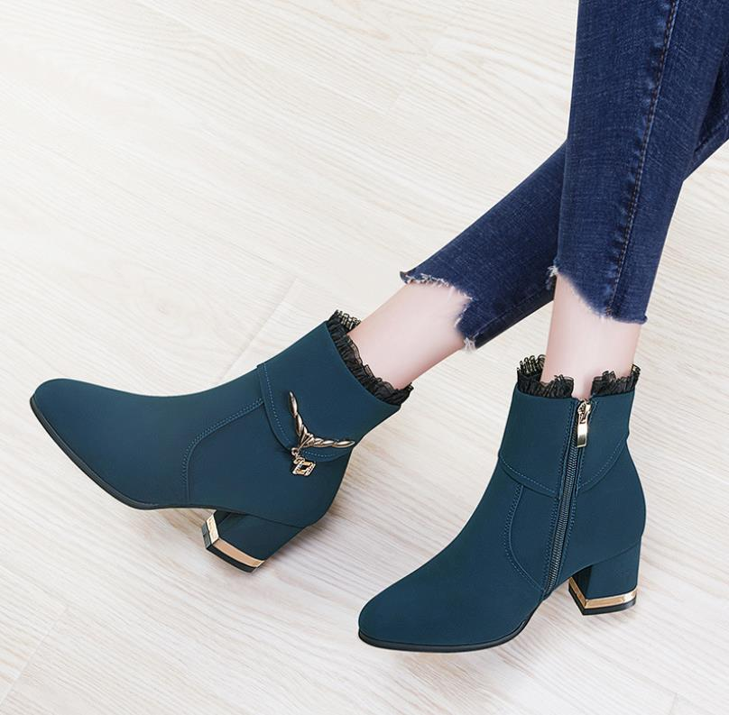 Lateral Cabeza Zapatos Negro Decorativo Mujeres Cremallera Con Las La Botas Metal azul Mujer De Redonda fTTwRq1