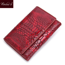 Standard Wallets 2017 Brand Design Genuine Leather Women Wallets Serpentine Purses With Card Holder Lady Fashion Trifold Wallet