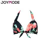 JOYMODE Women Bikini Top Ruched Print Sexy Swimsuit Tops Underwire Micro Bikini Adjustable Straps Women Push
