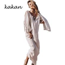 Kakan 2019 summer new womens dress bohemian folds mopping split sleeves lace
