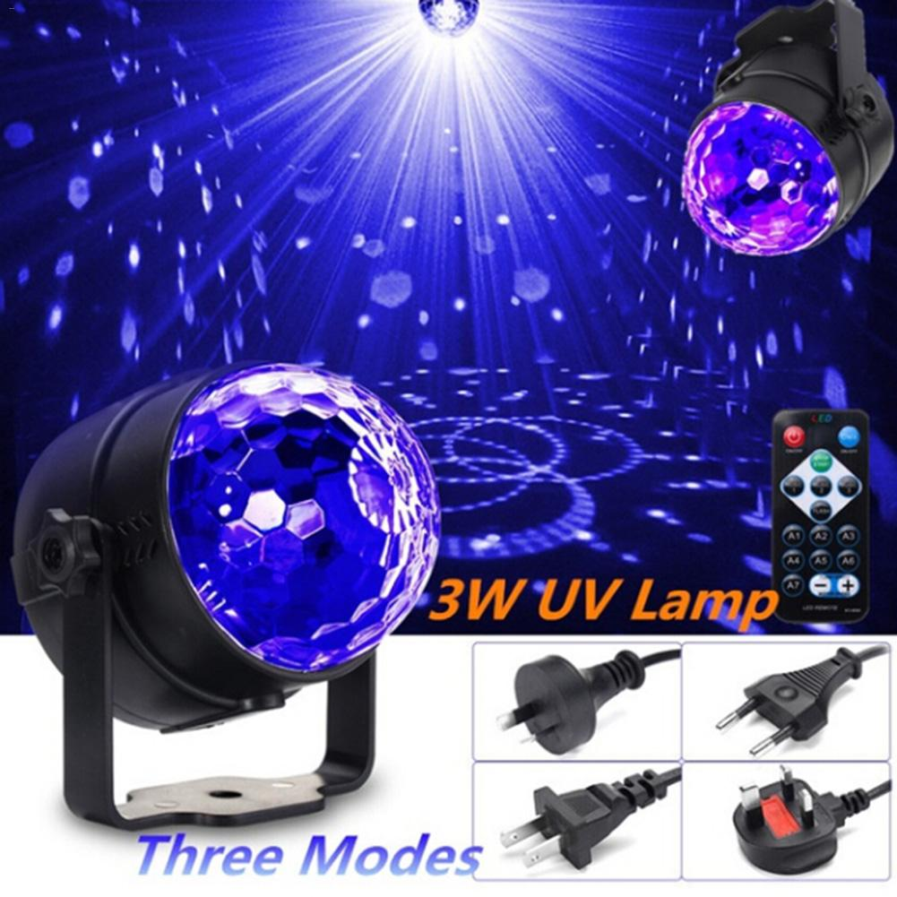 LAIDEYI Remote UV LED Crystal Magic Rotating Ball Stage Lights USB 5W Colorful Ktv DJ Light Disco Light Remote Control Light