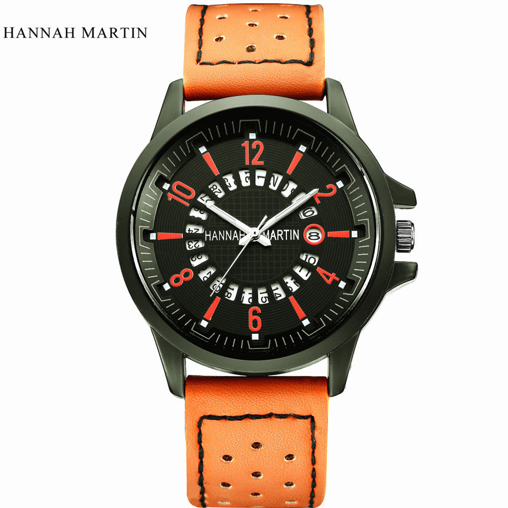 Hannah Martin Fashion Brand Men Watch Army Date Leather Stainless Steel Sport Cool Mens Clock Quartz Wrist Watches Relogio