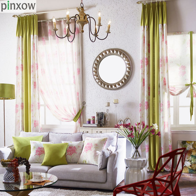 Flower Window Curtains Custom Made Bedroom Curtain Fabrics Pink Drapes Living Room Green Treatment Panels