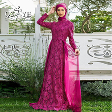2017 New Arrival High Neck Long Sleeves Lace Muslim Evening Dress with Hijab Abaya Moroccan Kaftan Formal Party Gown