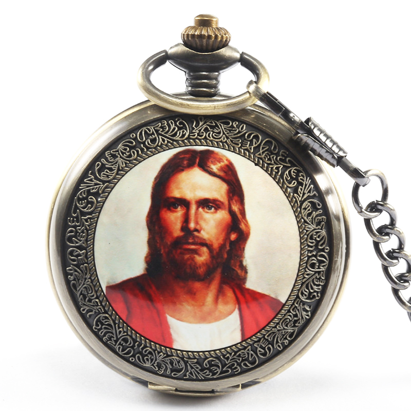 лучшая цена Box Package Romantic Madonna Mary Pocket Fob Watch with Chain Easter Jesus Quartz Pocket Clock For Men Mens Women Christian Gift
