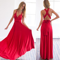 Noin Dress Summer Dress Beautiful Red Long Maxi Dress Women Sexy V Neck Wrap Around Design
