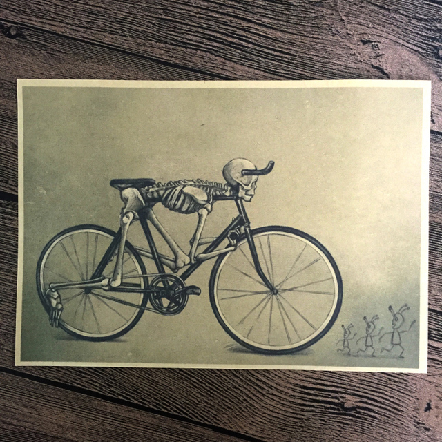 free ship skull retro bicycle poster vintage wall sticker art prints
