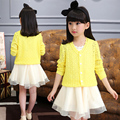 Girls Thin Cardigan 2016 Spring Autumn Jacket Fashion Children's Long-sleeved Hollow Sweater Fit 3-16 Years Old Free Shipping