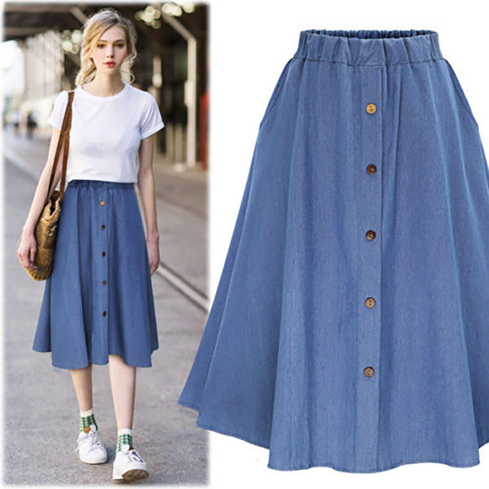 Women Classic Summer Denim Skirts Womens Pleated Knee Length Jeans Skirt Sweet Casual Button Long Skirt Female Loose Skirts
