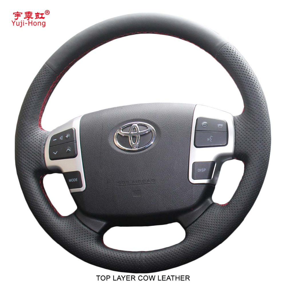 Yuji-Hong de Direcção Do Carro Do Couro Genuíno LC200 Cobre Caso para Toyota Land Cruiser 2007-2012 Mão-costurado couro de Vaca Camada superior