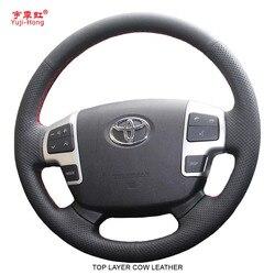 Yuji Hong kierownicy samochodu etui z prawdziwej skóry pokrowiec na toyotę Land Cruiser LC200 2007-2012 ręcznie szyte Top warstwa skóry bydlęcej