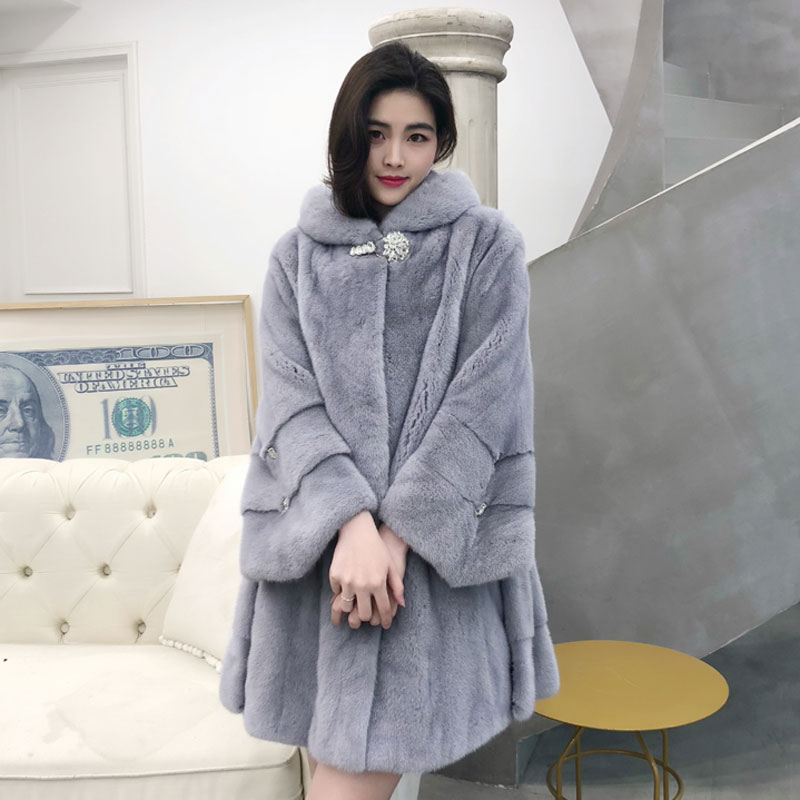 2019 new women's mink fur coat slim long hooded loose large size best selling warm furry leather grass coat discount high qualit