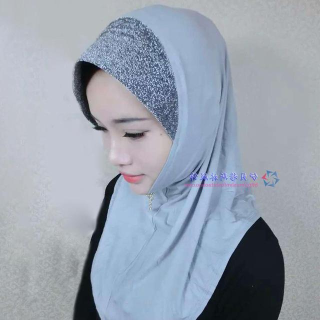 2015 Mulheres Muçulmanas Hijab Islâmico Algodão Modal Sólida Aba Acessórios Cap Hijab Islâmico Abaya Muçulmano