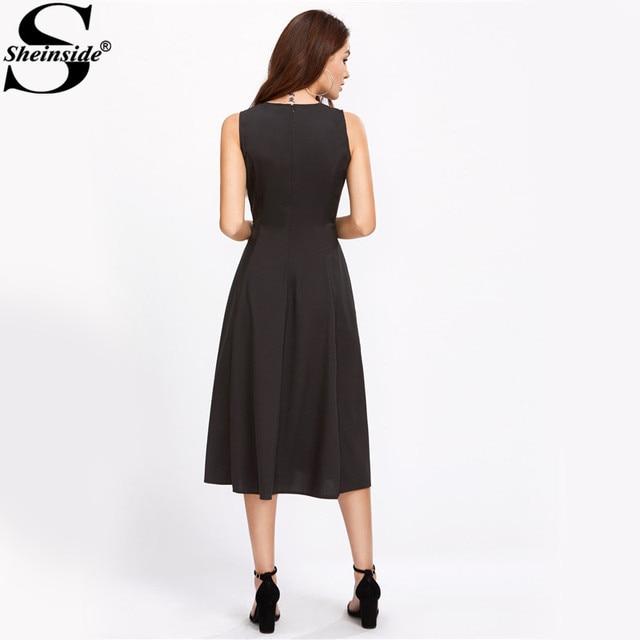 Sheinside Elegant Swing Tank Dress 2017 Black A Line Women Zipper Back Midi Summer Dresses Work Ladies Slim Draped Party Dress