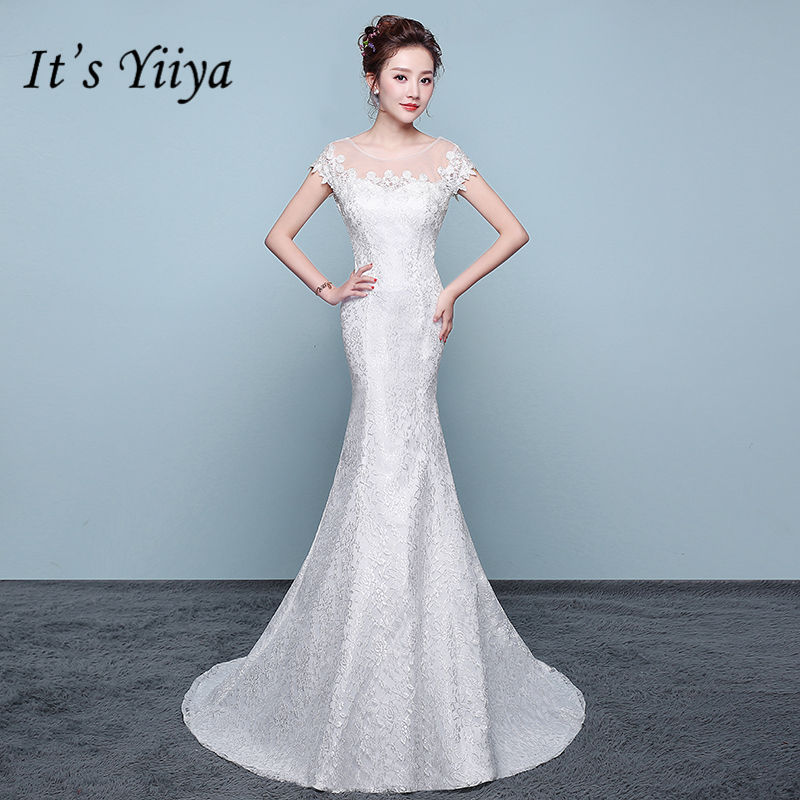 It's YiiYa New Skinny Lace Trumpet Wedding Dresses Sexy Boat Neck Floor Length Bride Frock Vestidos De Novia XXN202