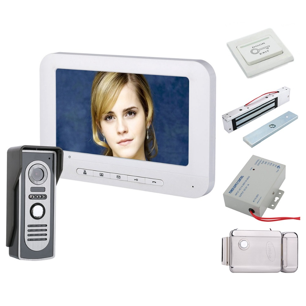 Home Security 7 Inch TFT Video Door Phone Doorbell Intercom Kit 1-camera 1-monitor Night Vision With HD 700TVL Camera+Locks