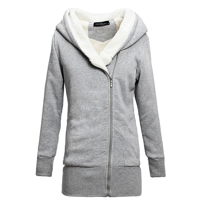 Autumn Winter Women Thick Fleece Warm Hoodies Sweatshirt Zipper ...