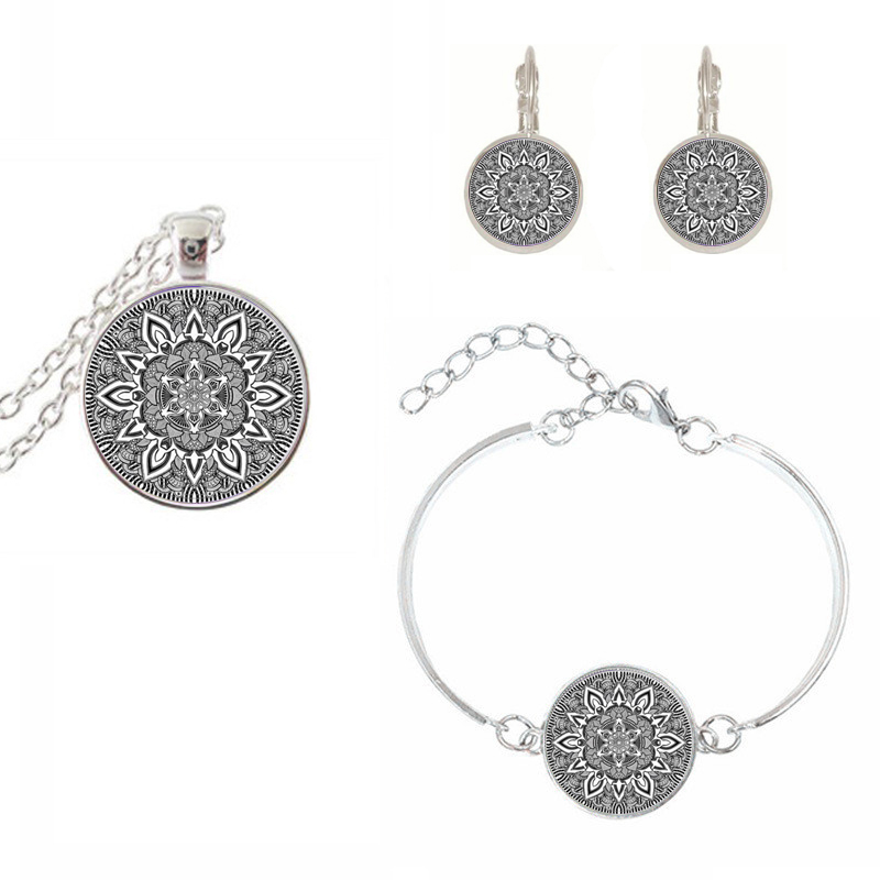 Charm Mandala Glass Necklace set On silver color Earring bracelet Om Symbol Buddhism Zen Henna Yoga Jewelry For Women Pendant