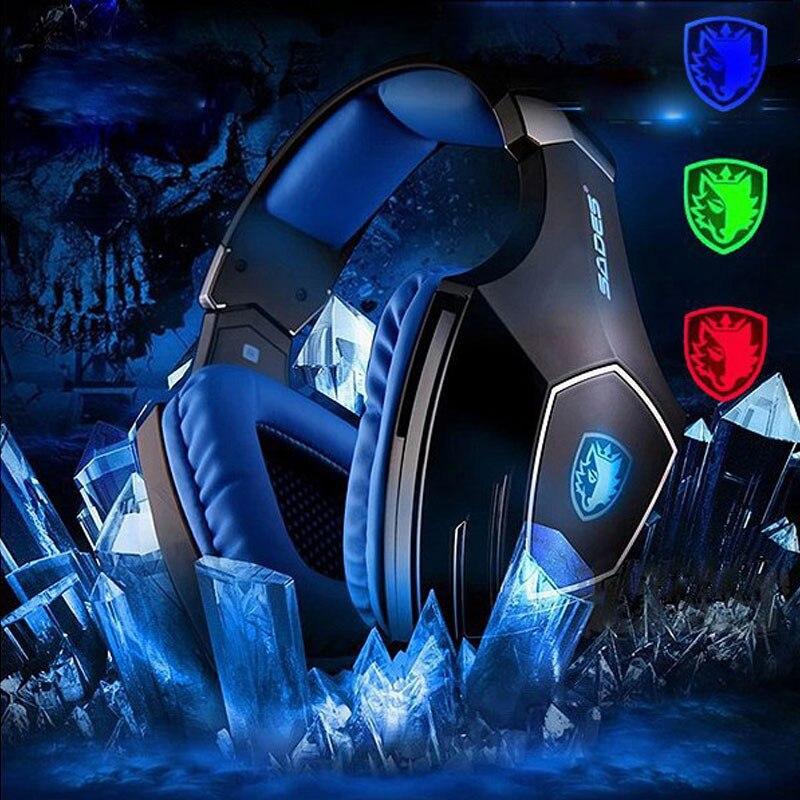SADES A60 USB 7 1 Surround Sound Pro Gaming Headset Gamer Vibration Super Bass Over Ear