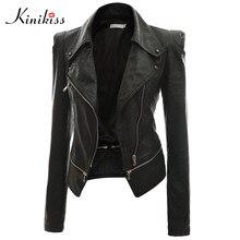 Kinikiss 2016 fashion women short black leather jacket coat autumn sexy steampunk motorcycle leather jacket female gothic coat
