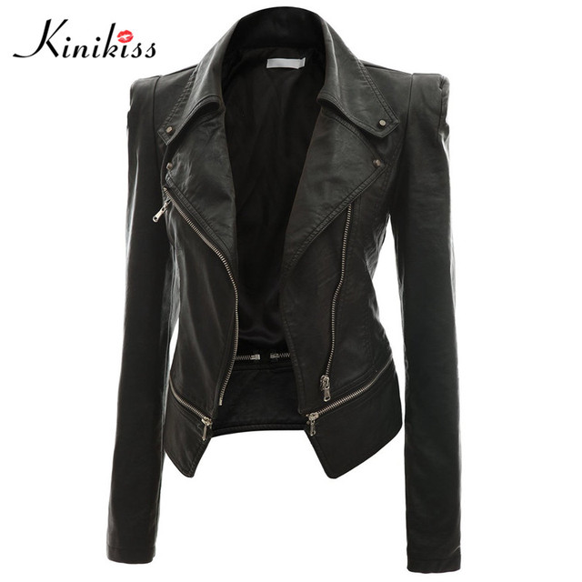 Kinikiss 2017 fashion women short black leather jacket coat autumn sexy steampunk motorcycle leather jacket female gothic coat