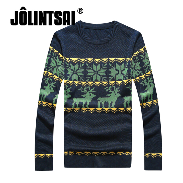Jolintsai Costumes de Natal Blusas 2017 Blusas O-pescoço E Pullover Inverno Camisola Com Cervos Do Natal Camisola Masculino Puxar Homme