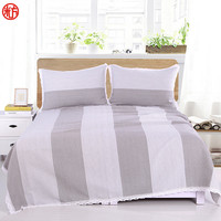 Coarse Cloth Bed sheet set Silver grey SheetΠllowcase set Big stripe bed cover set 250*250cm bedspread Lace Edge flat sheet