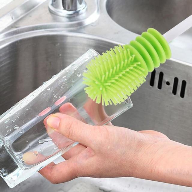 Escova de garrafa de silicone, escova para limpar garrafas, copo, limpador de silicone para limpar a cozinha, com cabo de limpeza, utensílios de limpeza, escova de vidro