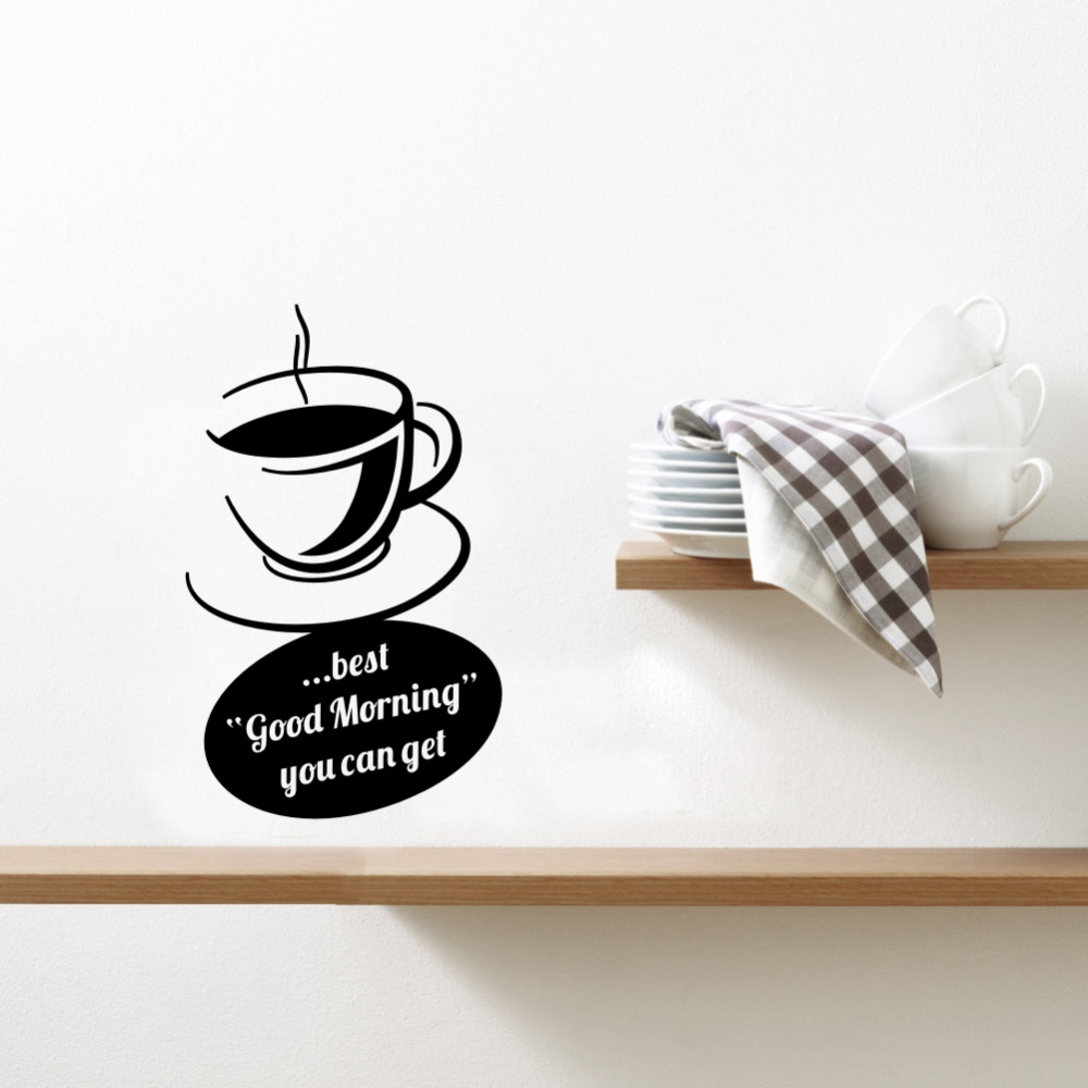 Coffee is the Best Creative Coffee Cup Wall Sticker Art Mural for Kitchen or Office Decor