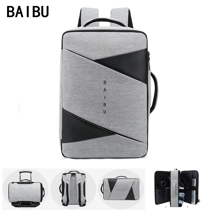 BAIBU Men Backpack Male Business Laptop 15.6 Inch Bag Outdoor Travel USB Charging Mochila Manager Smart Anti Theft Backpacks Bag