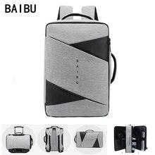 BAIBU גברים תרמיל זכר עסקי מחשב נייד 15.6 אינץ תיק חיצוני נסיעות USB טעינה המוצ ילה מנהל חכם אנטי גניבה תרמילי תיק