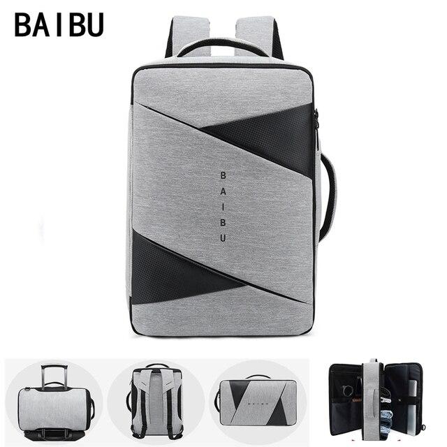 BAIBU الرجال على ظهره الذكور كمبيوتر محمول للأعمال 15.6 بوصة حقيبة السفر في الهواء الطلق USB شحن Mochila مدير الذكية مكافحة سرقة حقيبة الظهر
