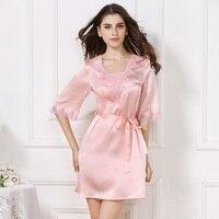 XL шелк Трусы летние женские Мода 2019 г. бренд розовый кружево печати пикантные однотонные цвет шелковое ночное белье 100% ночные рубашки для де