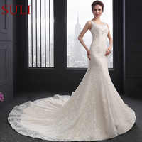 SL-050 Sexy Scoop Neck Beaded Crystal Sweet Heart Back Bridal Wedding Gowns Embroidery Lace Mermaid Wedding Dresses