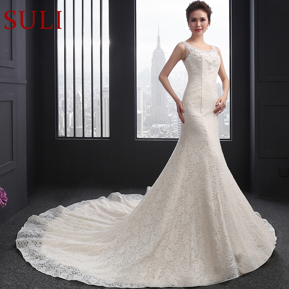 SL-050 Sexy Scoop Neck Beaded Crystal Sweet Heart Back Bridal Wedding Gowns Embroidery Lace Mermaid Wedding Dresses(China)