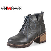 ENMAYER Women Ankle Boots Lace Up Round Toe Shoes Square Heel Platform Boots Warm Winter Boots