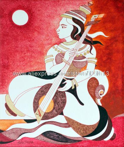Saraswati The Music Of Life Handmade India Fine Art Oil Painting Oil