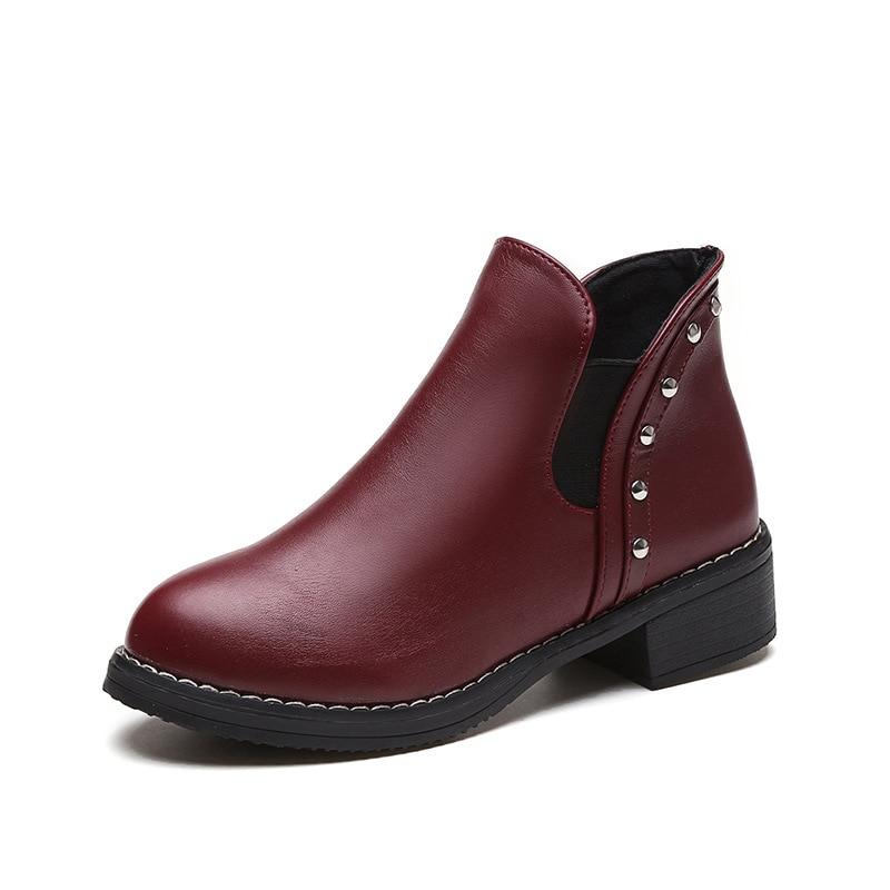 brown Black Básicos silver Tobillo Cómodos Invierno Mujeres Botas Zapatos wine Botines Las Otoño De Primavera Red Moda xUqO4PA