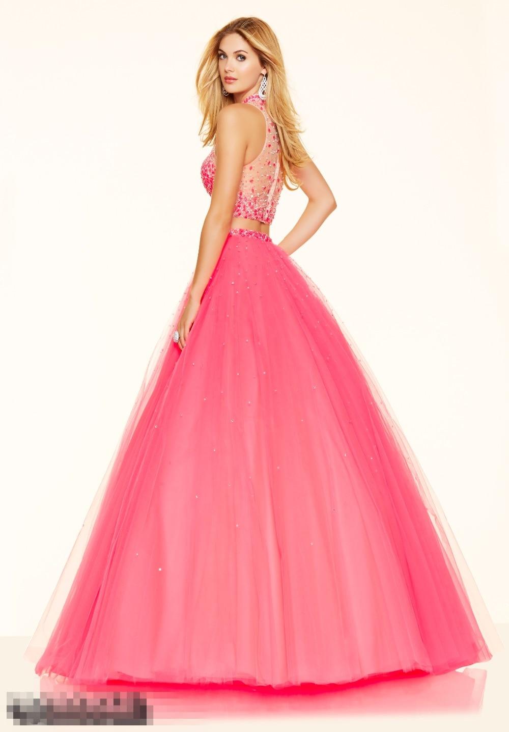 Hot Pink Dos Piezas Vestidos de Quinceañera Barato Largo Cristales ...