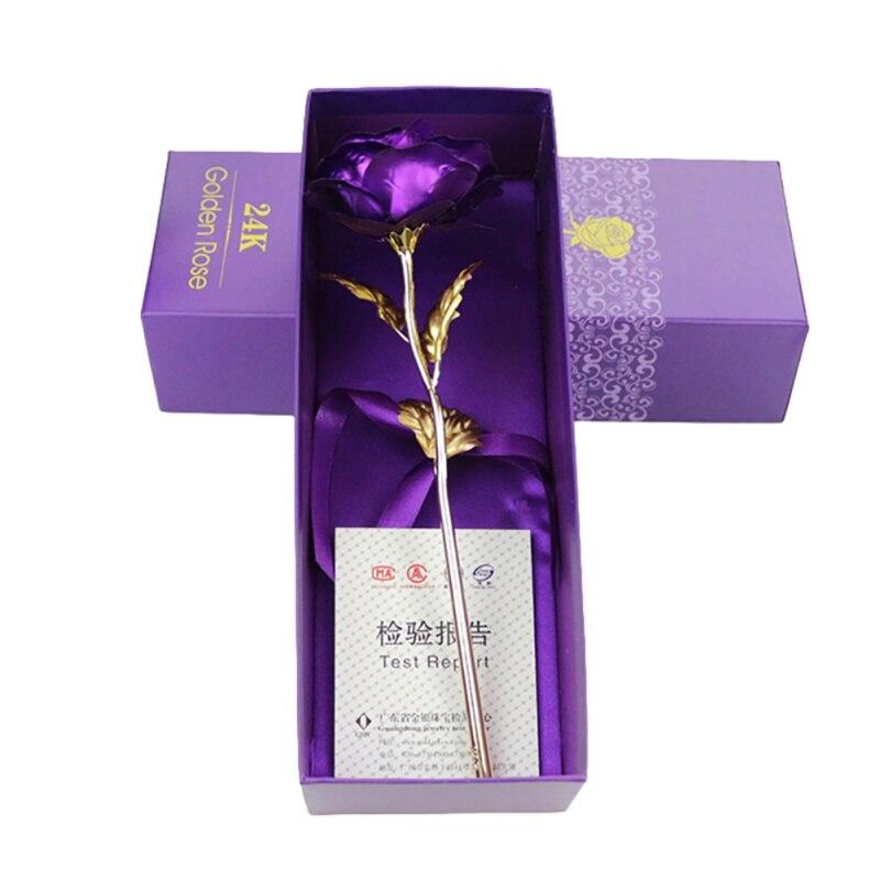 24 K фольга позолоченная Роза Золотая Роза свадебное украшение цветок день Святого Валентина подарок Любовник роза искусственная для Прямая...