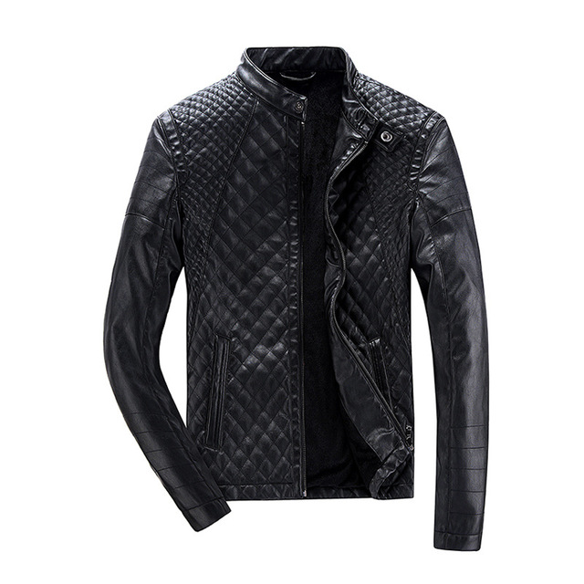Fashion Slim Fit Leather Men's Jacket Diamond Pattern Stand Collar Black Leer Jas Heren