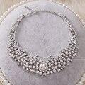 De lujo super flash rhinestone joyería nupcial conjuntos collar de cadena de joyería de la boda conjuntos de dos piezas al por mayor