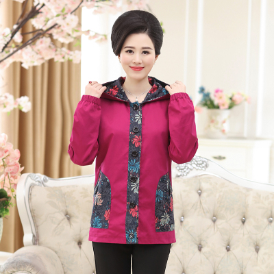 Mother clothing short jacket spring and autumn cotton women's 100% 405060 quinquagenarian women's with a hood jacket
