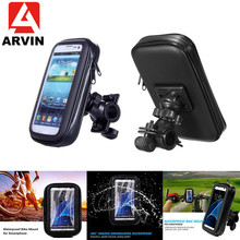 ARVIN Bicycle Motorcycle Phone Holder For iPhone 8P XR Samsung S8 S9 Waterproof Cycling Mobile Case Bag Support GPS Mount
