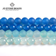 5 Colors Blue Agate Beads Semi-Finished Color Dye Handmade Bracelet Gemstone Beads DIY Ornament Earings Rings For Jewelry Making(China)