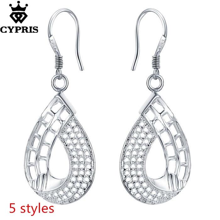 Vintage Design Long Luxury Teardrop Silver Crystal White